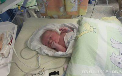 První občánek Krnova Lukášek Nacházel při narození měřil 50 centimetrů a vážil 4040 gramů