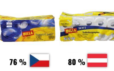 České a rakouské toaletní papíry – dvojí kvalita i na záchodě