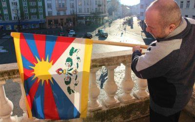 Vlajka jako důkaz podpory boje Tibeťanů za svobodu
