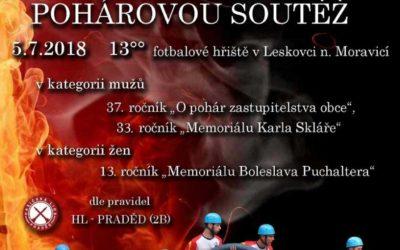 V Leskovci nad Moravicí pořádají pohárovou soutěž hasičů
