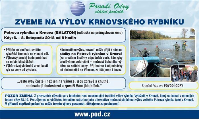 V Krnově proběhne v listopadu výlov Petrova rybníka