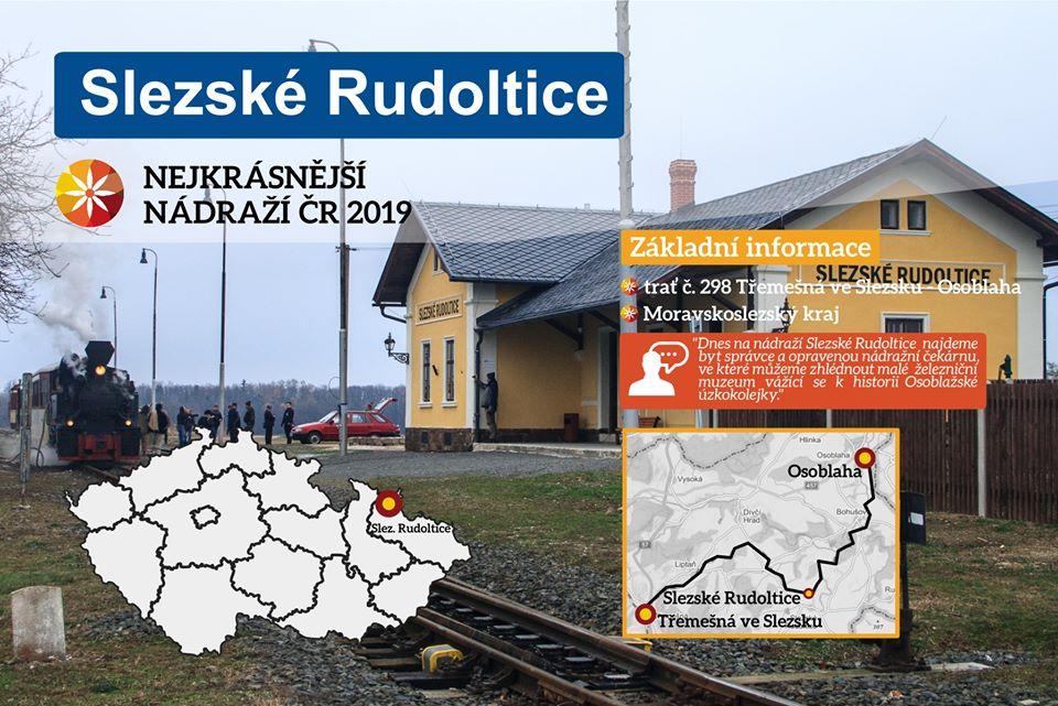Třetí nejkrásnější nádraží v ČR mají ve Slezských Rudolticích