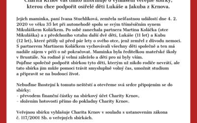 Osiřelé děti z Krnova potřebují pomoc, Charita Krnov vyhlásila veřejnou sbírku