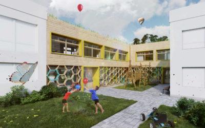 Fasáda mateřské školy v Krnově napodobí medové včelí plástve
