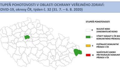 Mapa stupňů pohotovosti: všechny okresy v ČR jsou bez rizika komunitního přenosu