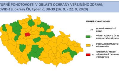V celé ČR stoupají záchyty pozitivně diagnostikovaných pacientů s COVID-19, do oranžového stupně nyní spadá již 58 okresů