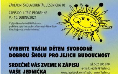 Základní škola Bruntál, Jesenická 10 zve budoucí prvňáčky k zápisu